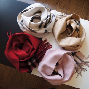 Burberry中文官网巴宝莉代购正品披肩新款金丝双面纯羊绒围巾