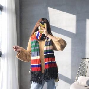 Burberry/巴宝莉香港官网女士新款彩虹色拼接羊绒围巾40800371