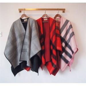 BURBERRY巴宝莉国外代购博柏利双面羊毛羊绒混纺经典格纹斗篷披肩