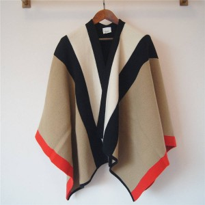 Burberry/巴宝莉香港官网博柏利女士斗篷条纹装饰羊毛混纺披肩80110041