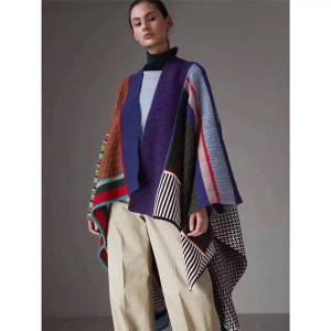 Burberry/巴宝莉香港官网正品博柏利女士斗篷羊毛混纺拼色拼接披肩外套