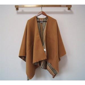 Burberry巴宝莉官方网站正品标志性条纹装饰羊毛披肩围巾斗篷80156541
