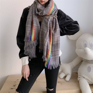 Burberry巴宝莉博柏利美国官网正品新款彩虹羊绒格子围巾