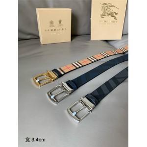 Burberry/巴宝莉官网海外代购博柏利皮带London格纹拼皮革双面两用腰带