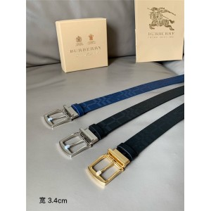 Burberry巴宝莉官网美国代购博柏利皮带双面两用格纹马术骑士图案皮革腰带
