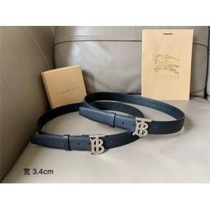 Burberry/巴宝莉官网代购网博柏利男士皮带专属标识图案粒纹皮革腰带80155991