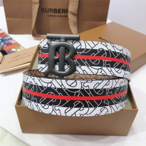 北京burberry折扣店巴宝莉皮带专属印花标识TB 3.5CM真皮腰带