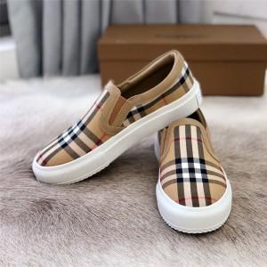 Burberry巴宝莉香港官网代购正品女鞋新款经典格纹一脚蹬情侣鞋休闲鞋