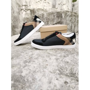 Burberry/巴宝莉香港官网代购House格纹麂皮拼皮革运动鞋80241241/80241251