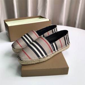 Burberry巴宝莉美国官方网鞋子博柏利男女同款格纹条纹帆布渔夫鞋8023969