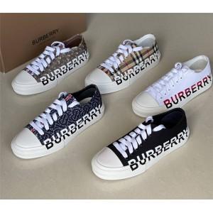 Burberry巴宝莉英国官网情侣鞋博柏利徽标印花小方格棉质运动鞋休闲鞋