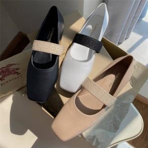 Burberry巴宝莉官网中文官网鞋子博柏利女款真皮芭蕾舞平底鞋