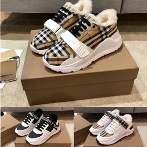 Burberry巴宝莉官方网站男女士徽标装饰皮革拼 Vintage 格纹运动鞋