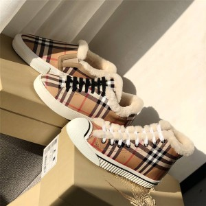 Burberry博柏利巴宝莉中文官网羊毛保暖Vintage 格纹拼皮革运动鞋