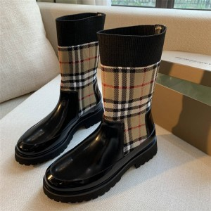 Burberry巴宝莉香港官网博柏利女靴Vintage 格纹中筒短靴切尔西靴