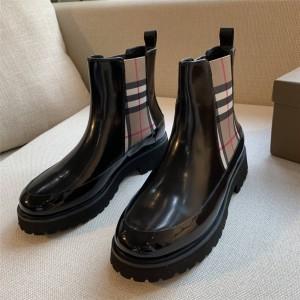 Burberry巴宝莉英国官网正品博柏利Vintage 格纹拼皮革切尔西短靴