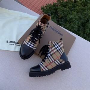 Burberry巴宝莉中文官网正品博柏利house格纹拼皮革马丁靴短靴