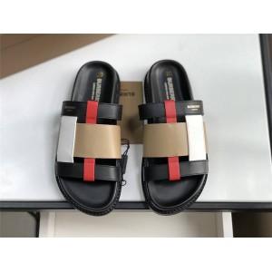 Burberry博柏利巴宝莉中文官方网新款女士拼色皮革拖鞋80274371