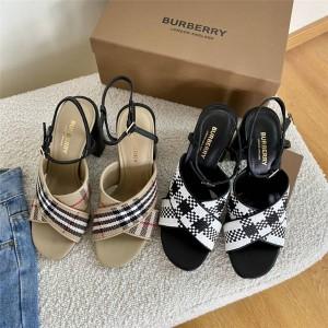 Burberry博柏利巴宝莉官方网站新款女鞋编织真皮粗跟凉鞋