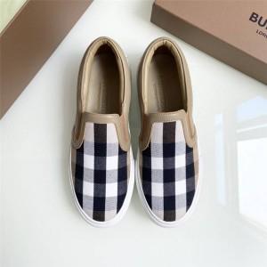 Burberry博柏利巴宝莉正品官网皮革拼 Vintage 格纹套穿式运动鞋