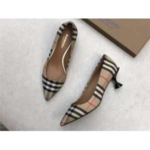 Burberry博柏利巴宝莉专柜价官网Vintage 格纹棉质高跟鞋80240751