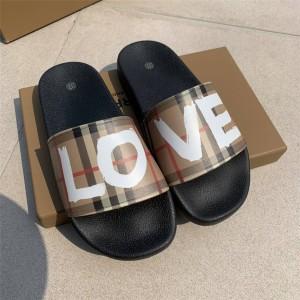 burberry博柏利中国官网巴宝莉LOVE图案印花 Vintage 格纹拖鞋