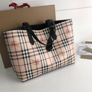 BURBERRY巴宝莉中文官网博柏利格纹双面两用购物袋40495011/40496351
