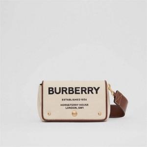 burberry中国官网巴宝莉博柏利小号Horseferry印花棉质帆布斜背包80266081