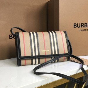 Burberry/巴宝莉香港官网博柏利标志性条纹环保帆布钱夹斜跨包80260041