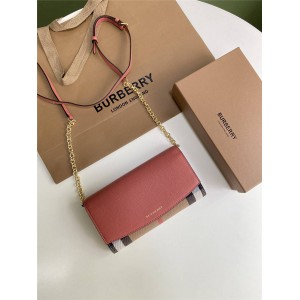 Burberry/巴宝莉官网正品博柏利House格纹拼皮革钱夹斜跨包40482501/40482531