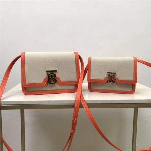 Burberry/巴宝莉官网博柏利专属标识双色帆布拼皮革锁扣包80271781/80171101