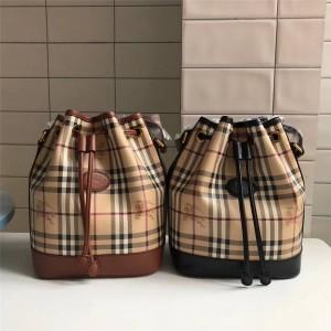burberry官网巴宝莉博柏利经典款女包中古战马抽绳水桶包