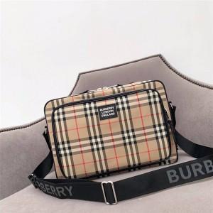 BURBERRY巴宝莉官网博柏利男士Vintage经典格纹信使包单肩包80230231