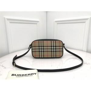 Burberry官网巴宝莉女包代购小号 Vintage 格纹拼皮革相机包80207251