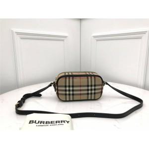 Burberry博柏利巴宝莉官方网站Vintage 格纹拼皮革双拉链斜挎包80223451