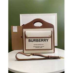 Burberry代购巴宝莉官方旗舰店中号双色帆布拼皮革口袋包80317451/80280411
