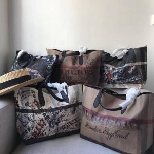 Burberry官网巴宝莉官方旗舰店涂鸦托特包双面购物袋40610331/80088731