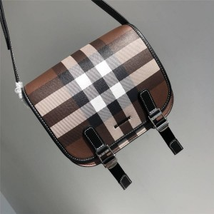 Burberry官网正品巴宝莉包包价格新款格纹斜跨单肩包马鞍包