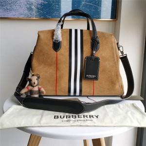 Burberry博柏利巴宝莉官方旗舰店新款条纹翻毛牛皮方正手提袋旅行包