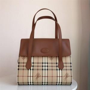Burberry官网巴宝莉专柜价中古女包经典战马格纹拼皮翻盖手提包公文包
