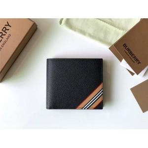 Burberry巴宝莉中国官网标志性条纹印花皮革双折钱夹钱包(国际版)80330721