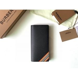 Burberry巴宝莉官方网站标志性条纹印花粒纹皮革长款钱夹钱包80338481