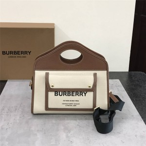 Burberry官网巴宝莉价格小号双色帆布拼皮革口袋托特包80367841