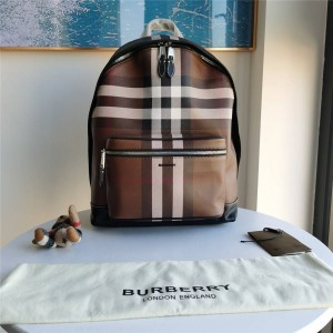 Burberry博柏利巴宝莉中文官网新款男士格纹环保帆布双肩包80365491