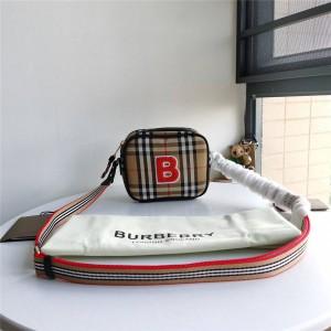 Burberry官网巴宝莉包包图片新款ECONYL格纹B字相机包80239011