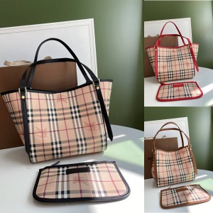 Burberry官网巴宝莉包包图片博柏利经典款Vintage战马格纹购物袋子母包