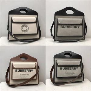 Burberry巴宝莉美国官网博柏利中号双色帆布拼皮革口袋包80323361