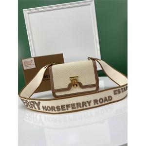 Burberry官网巴宝莉新款包包小号TB专属标识棉质帆布拼牛皮锁扣包80424191