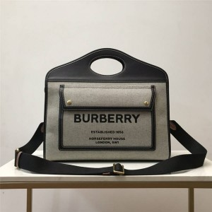 Burberry巴宝莉官网中文官方网中号双色帆布拼皮革口袋托特包80367851