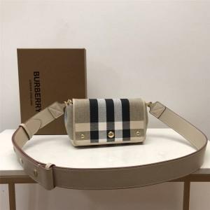 burberry欧洲官网巴宝莉正品代购小号格纹帆布斜背包80402141